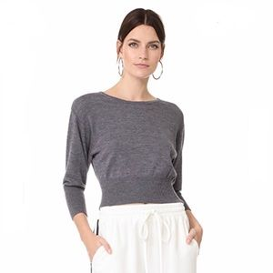 DVF 3/4 sleeve cropped sweater